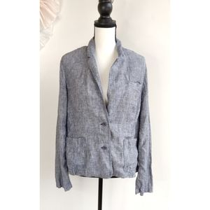 Eileen Fisher Blue Railroad Stripe Linen Blazer
